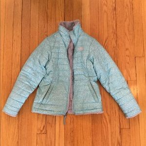 Girls reversible North Face fluffy jacket size M